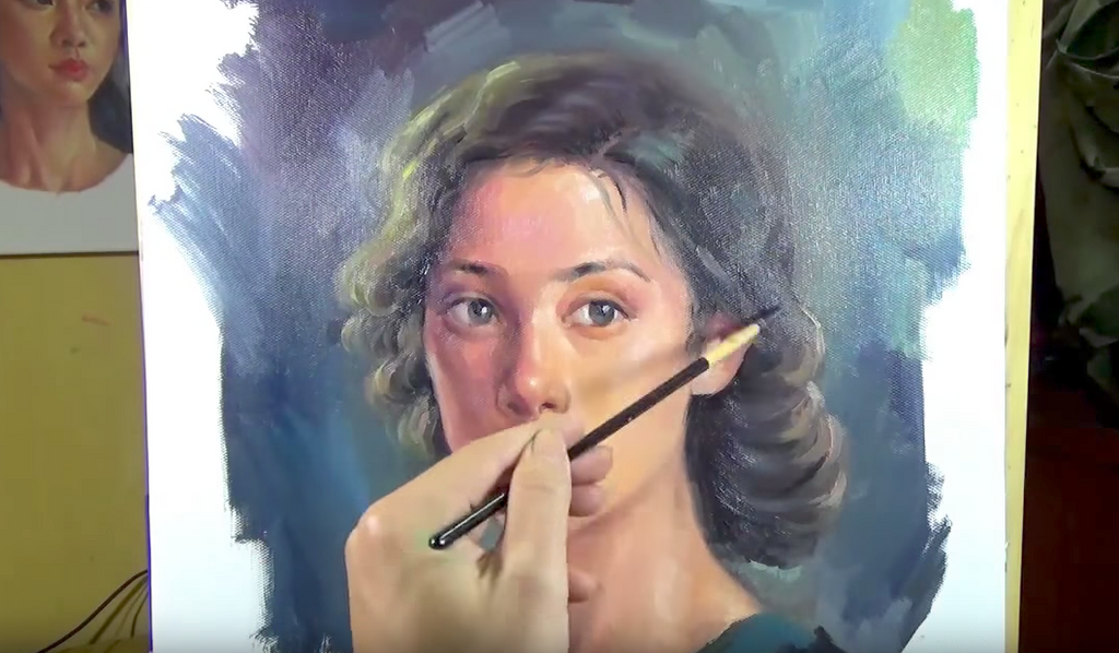 Beautiful Oil Painting Timelapse Video - Pretty Girl Portrait on Canvas