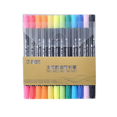 Aquarelle Twin Tip Brush Marker Set