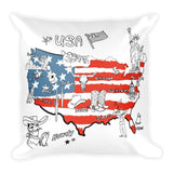 USA Illustration Square Pillow
