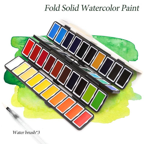 Smart Folding Watercolor Paint Sets 18/38/58 with Water Brush Set & Gift Box