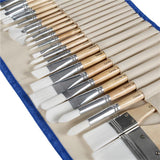 24 Professional Paint Brush Set with Roll Up Case