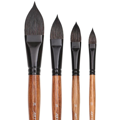 Professional Squirrel Hair Flat Paint Brush Set