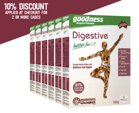 Goodness Superfoods <p> Digestive Cereal </p> <p> (Per case: 6 x 500g boxes) </p>