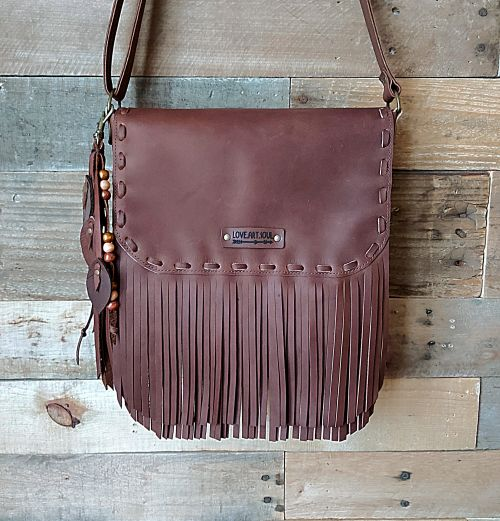 Kamana Leather Fringe Messenger Bag