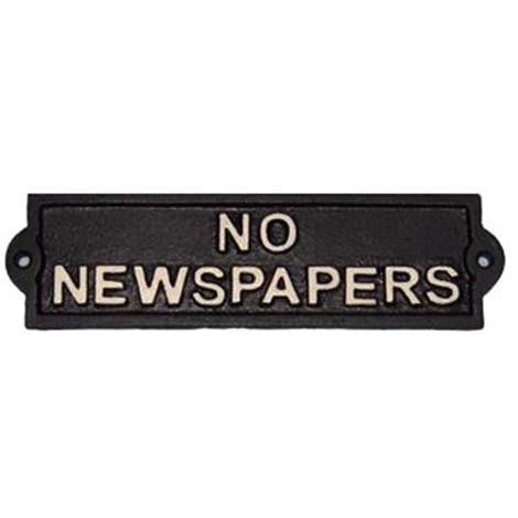 Cast Iron No Newspapers Sign | The Old Tin Shed