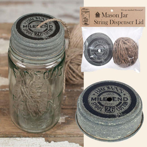 Mason Jar String Dispenser Lid | The Old Tin Shed