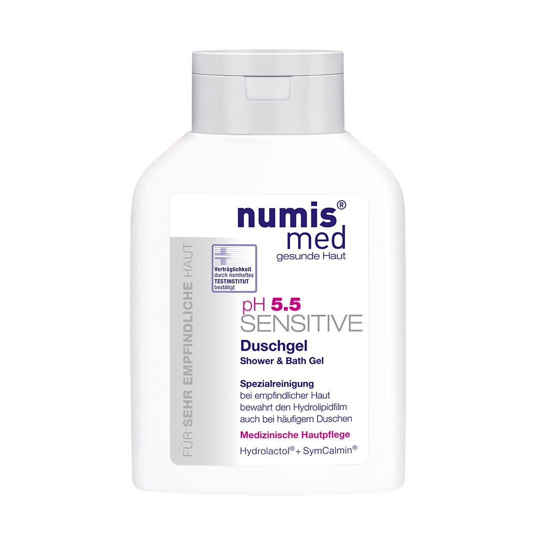 numis med pH 5.5 Gentle Shower & Bath Gel hydrates & calms stressed, sensitive skin. This body wash soothes and protects against dryness and irritation.