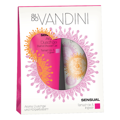 Aldo Vandini Sensual Moment scented with tamarind and ginger revitalize skin soft.  Vegan Paraben Free Cruelty free duo set gift set shower gel body lotion. Imported from Germany. Indian spice pink orange white portable tube