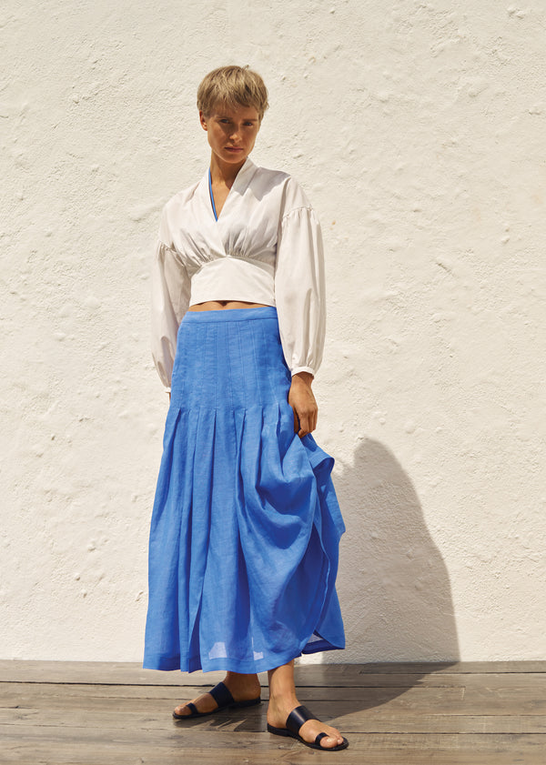 Greta Top in White & Elisha Skirt in Ocean