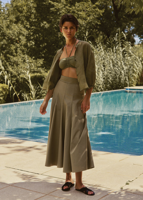 Haddie Top and Amelina Skirt in Khaki