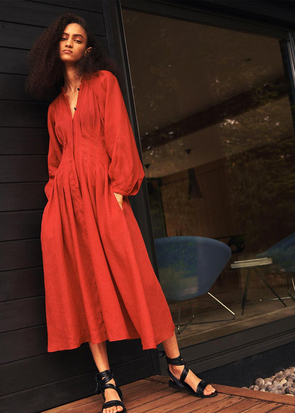 Valeraine Dress in Rouge Red