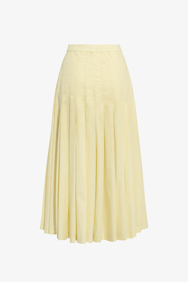 Elisha Deep Pleat Midi Skirt in Ice Lemon
