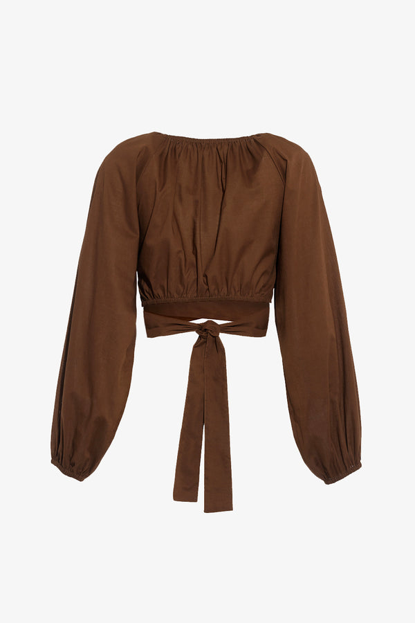 Clara Wrap Around Crop Top in Walnut