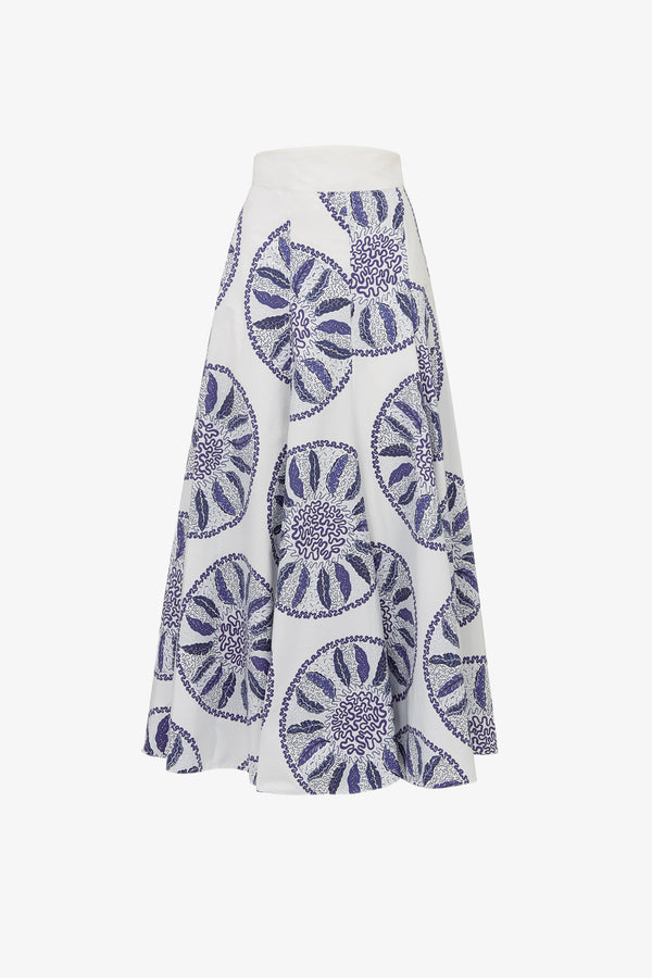 TGL x Zandra Rhodes: Luna Cotton Skirt in Blue Circles