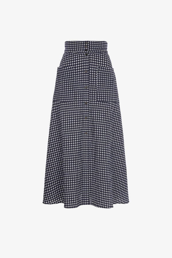 Anna Cotton A-line Skirt in Navy Gingham
