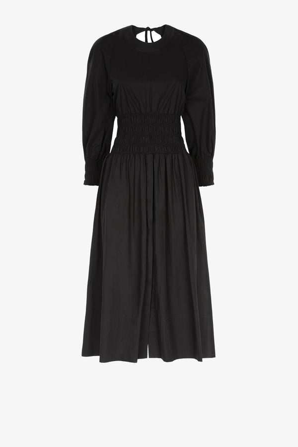 Arianna Cotton Tie Back Midi Dress in Black