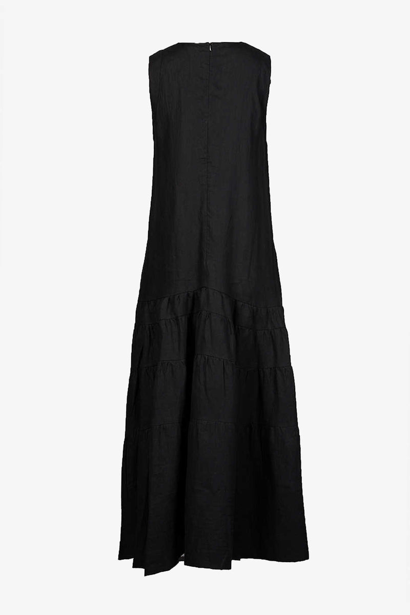 Abigail Effortless Tiered Round Neck Maxi Dress