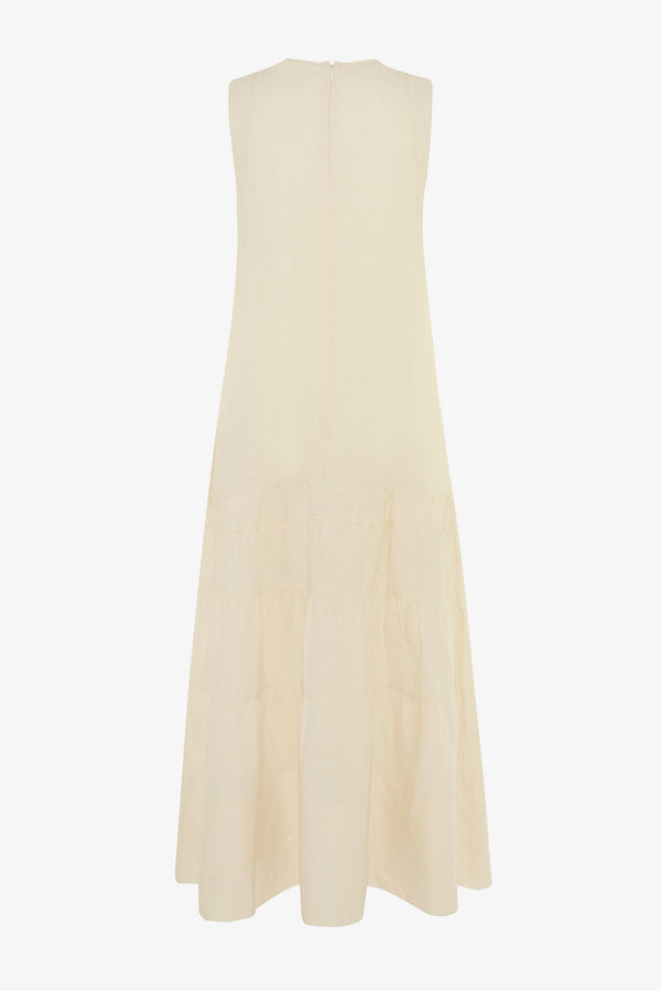 Abigail Linen Midi Dress in Chalk