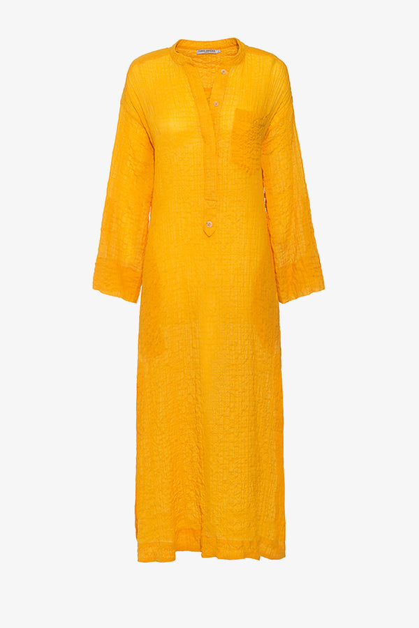 August Crinkle Cotton Voile Kaftan in Saffron Yellow