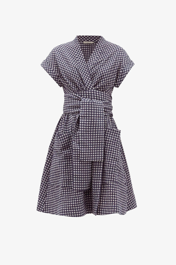 Aurora Cotton Wrap-Belt Mini Dress in Navy Gingham