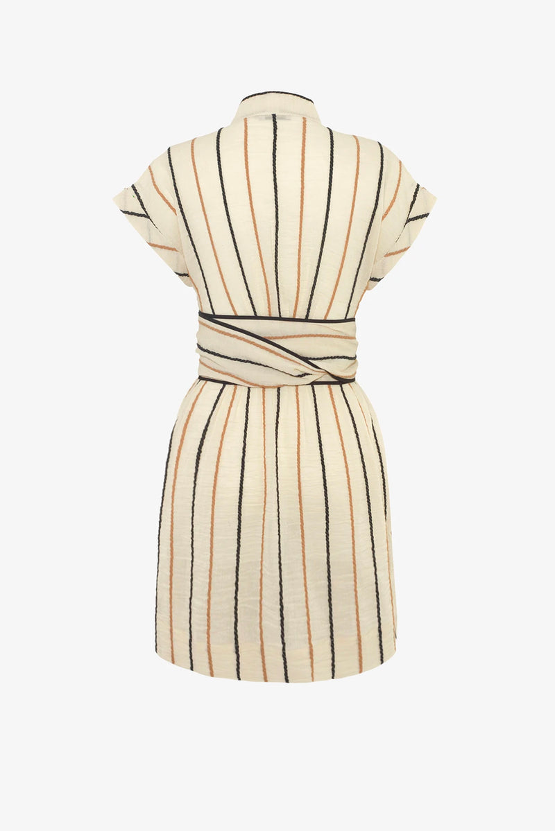 Aurora Cotton Wrap-Belt Mini Dress in Rope Stripe