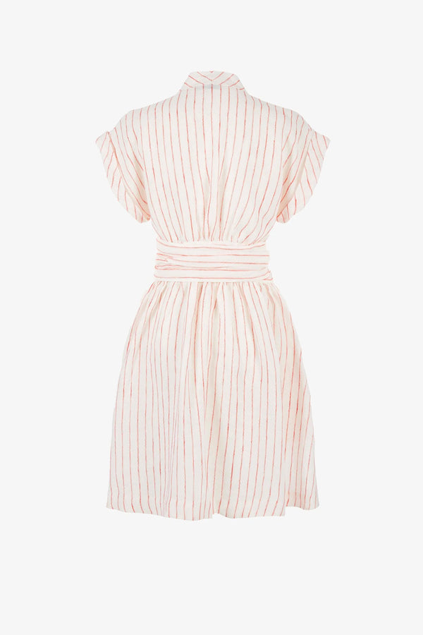 Aurora Linen Wrap-Belt Mini Dress in Wave Stripe