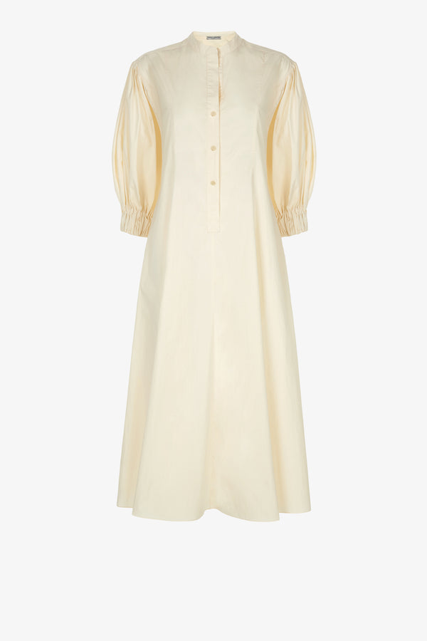 Bianca Cotton Poplin Button-Down Dress in Oyster