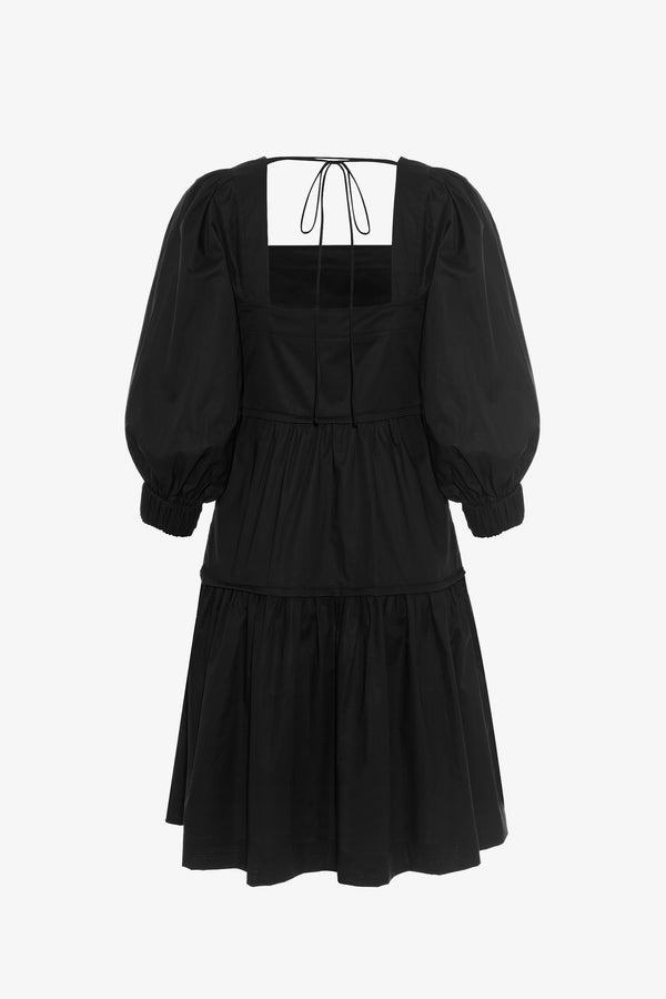 Bahni Cotton Tiered Mini Dress in Black