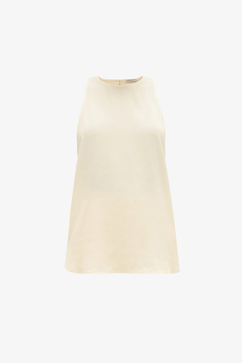 Chiara Minimal Racer Back Top in Oyster