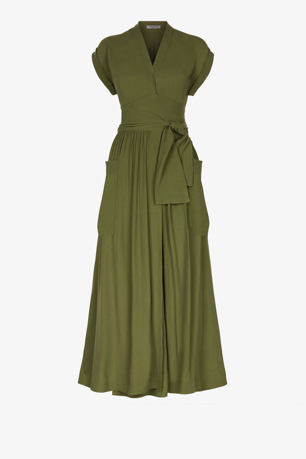 Clarissa Classic Midi Dress in Olive