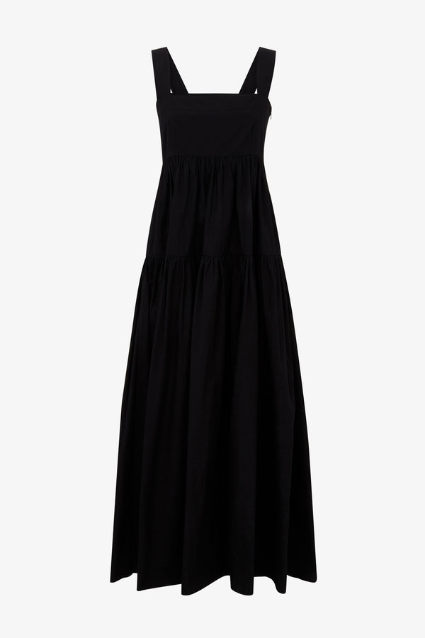 Cosette Cotton Poplin Tiered Maxi Dress in Black