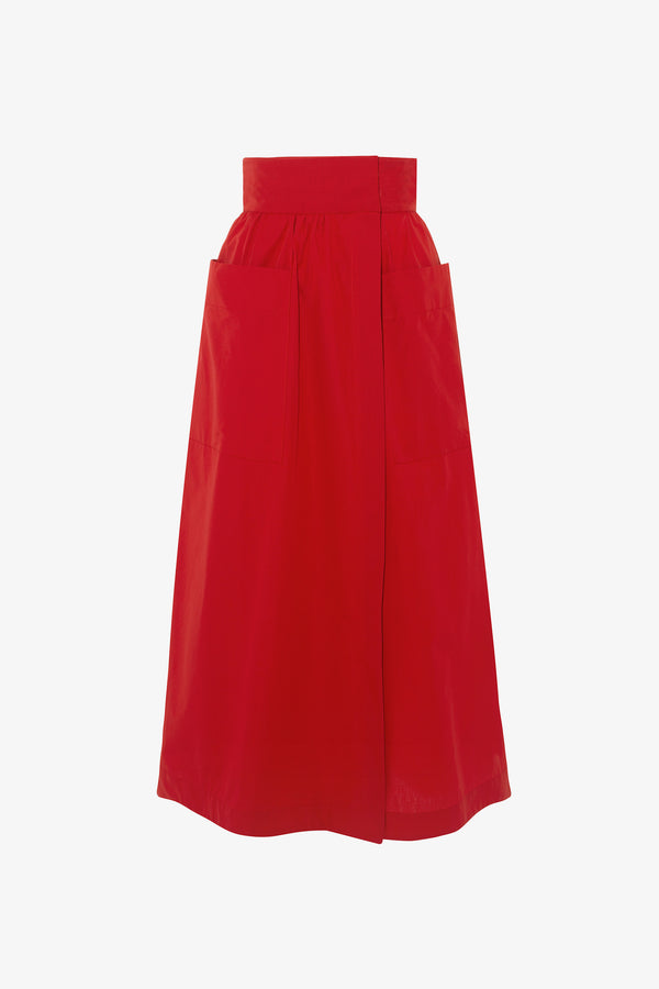 Celeste Cotton Wrap Midi Skirt in Rouge Red