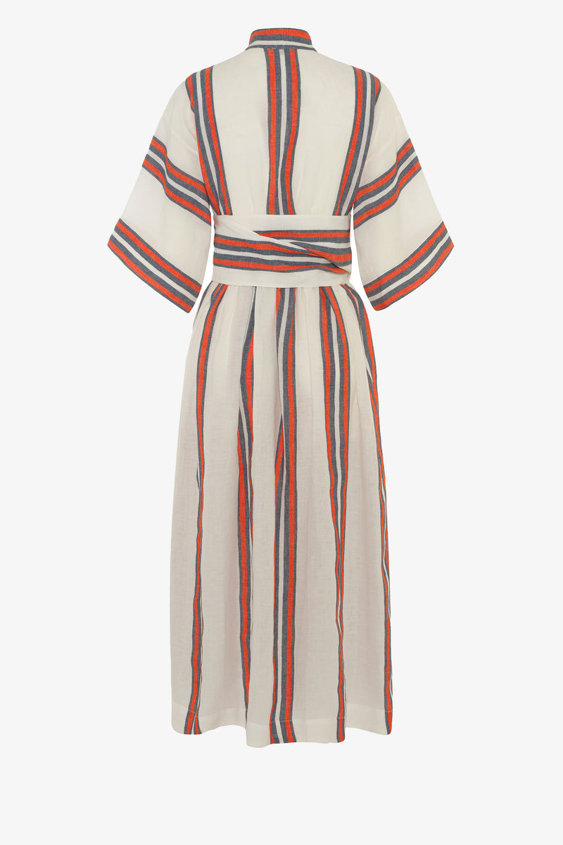 Charita Linen Midi Dress in Parasol Stripe