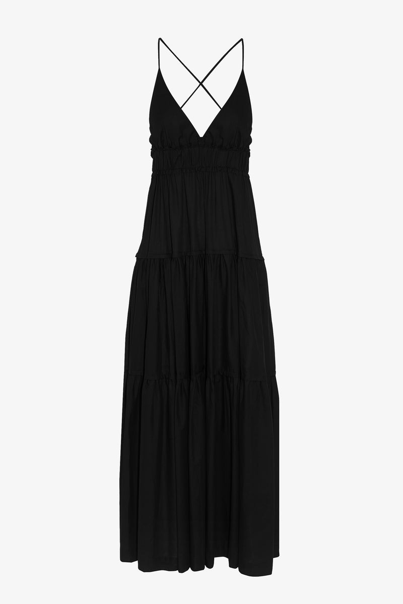 Chloe Cotton Ankle Length Maxi Dress in Black