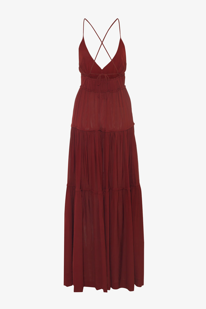 Chloe Ankle Length Maxi Dress in Ruby Red