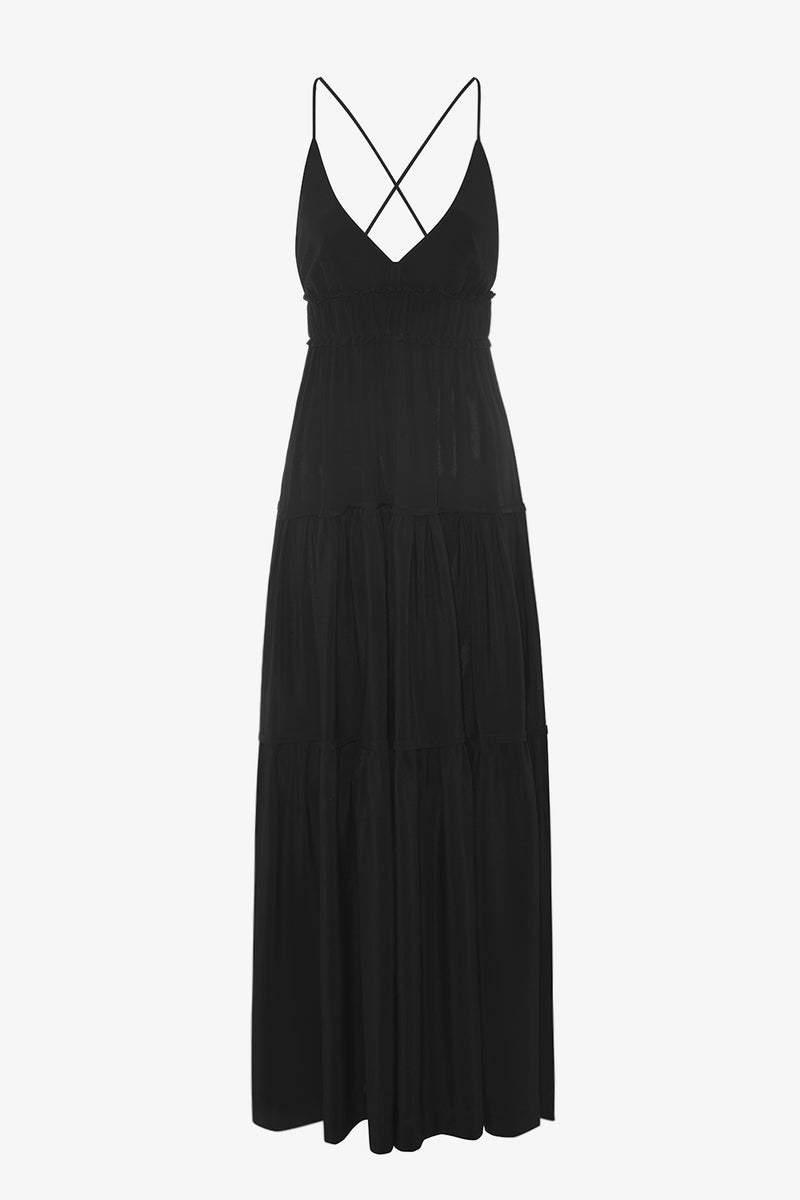 Chloe Ankle Length Maxi Dress in Black Silk