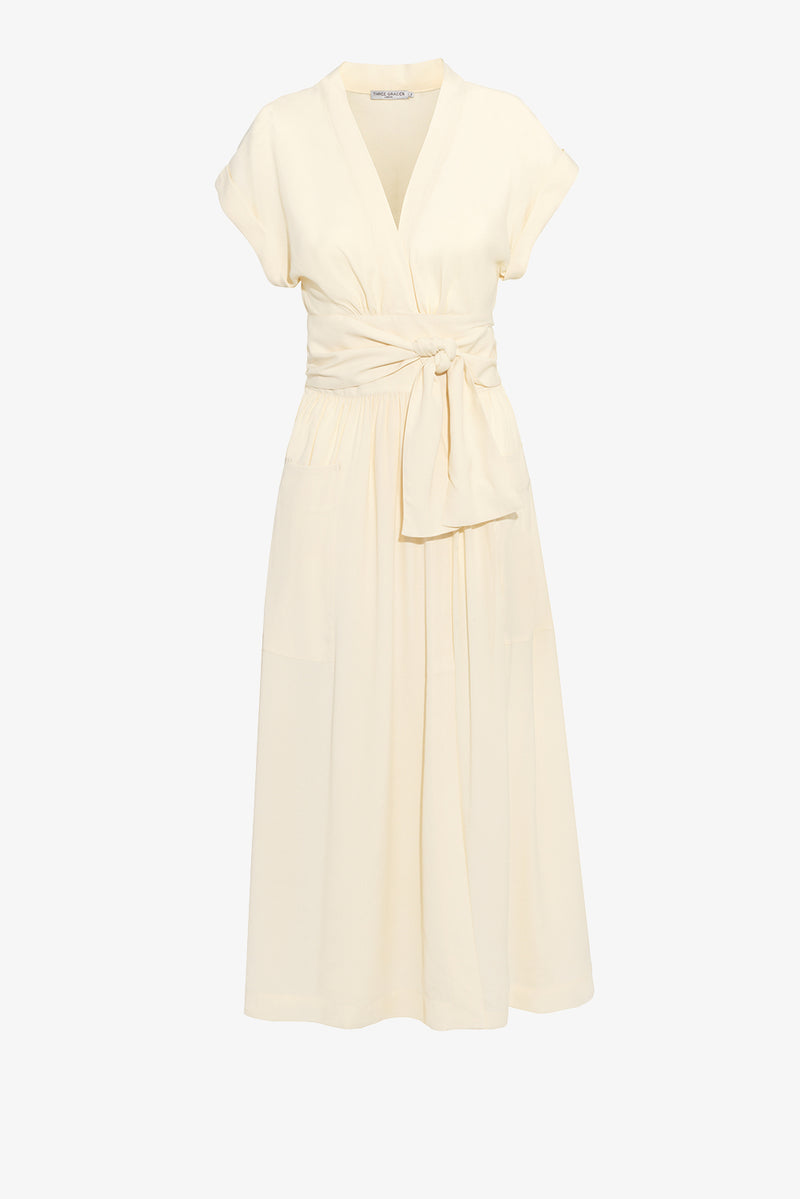 Clarissa Wrap Midi Dress in Oyster