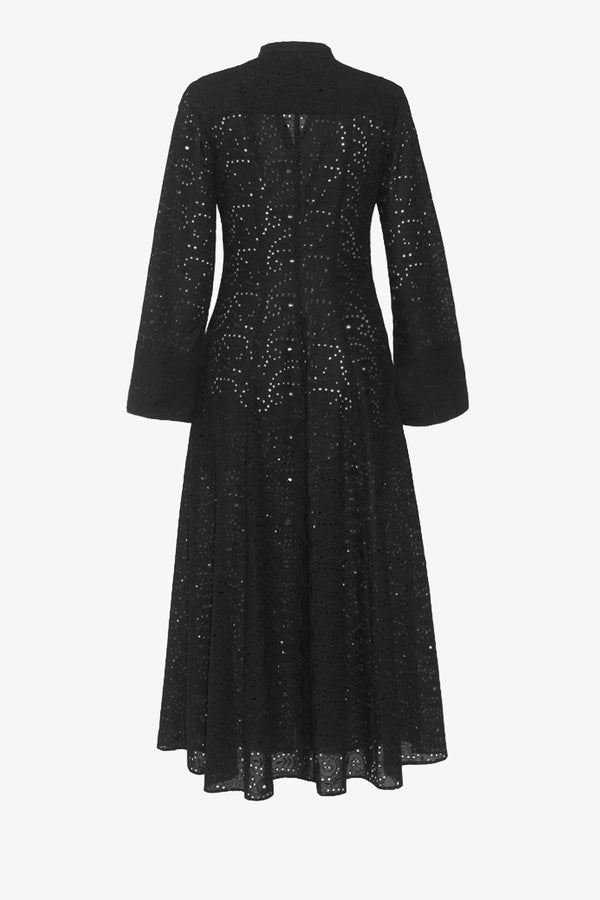Connie Ankle Length Dress in Black Broderie Anglaise