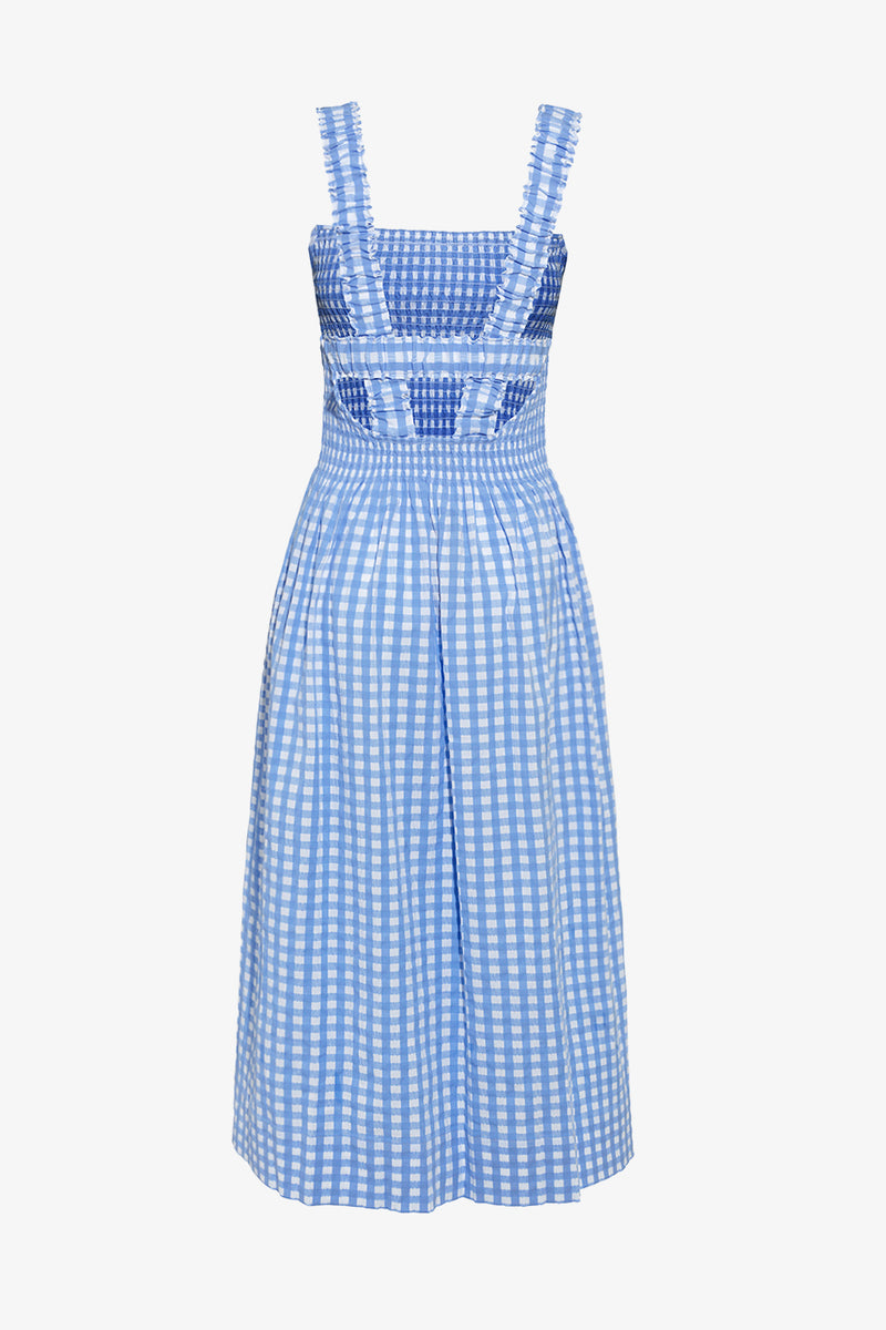Cordelia Cotton Dress in Blue Gingham