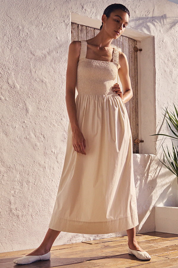 Cordelia Cotton Sun Dress in Chalk