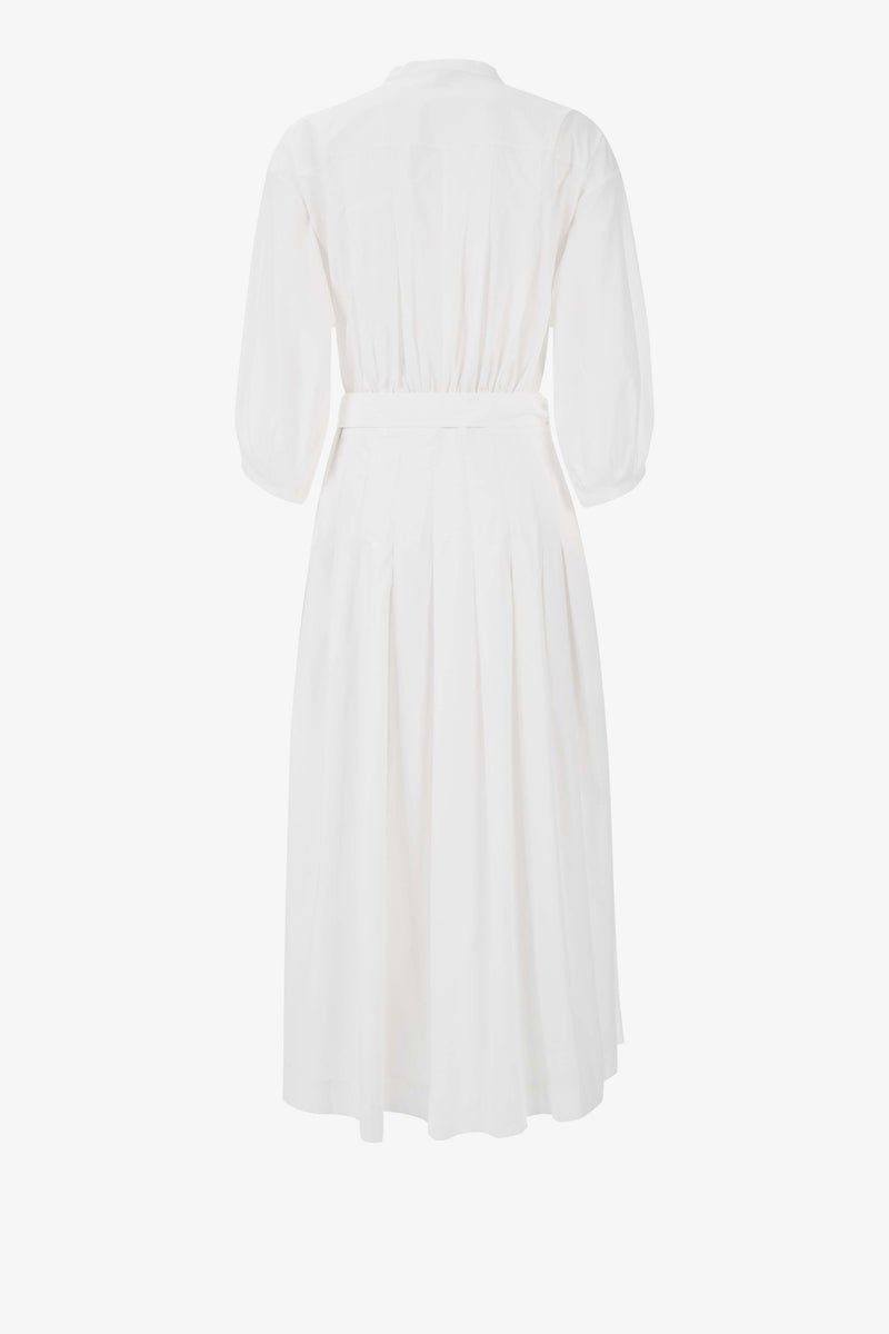 Delmare Cotton Pleated Midi Dress in White