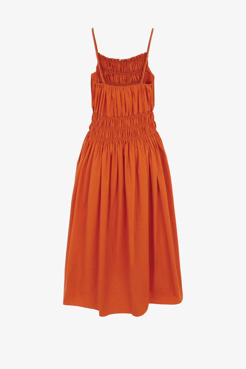 Dia Cotton Poplin Midi Dress Orange