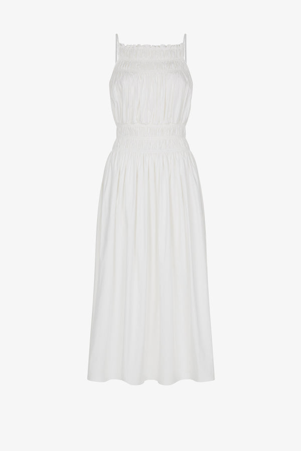 Dia Cotton Poplin Midi Dress White