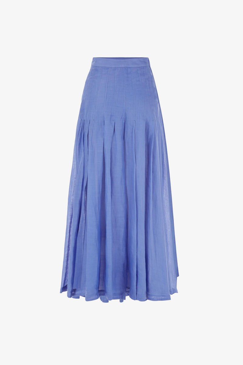 Elisha Ramie Pleated Skirt in Blue