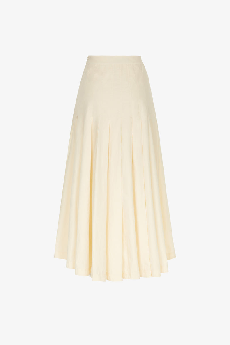 Elisha Deep Pleat Midi Skirt in Oyster