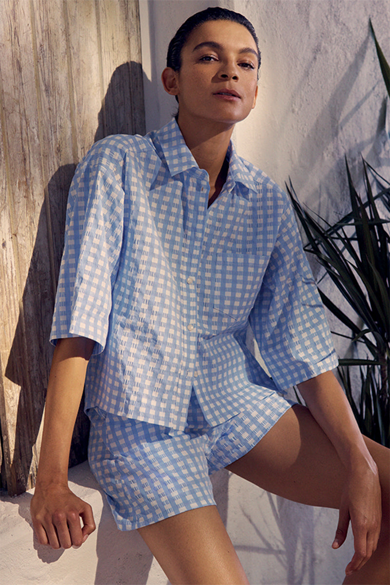 Nico Button Down Shirt in Blue Gingham