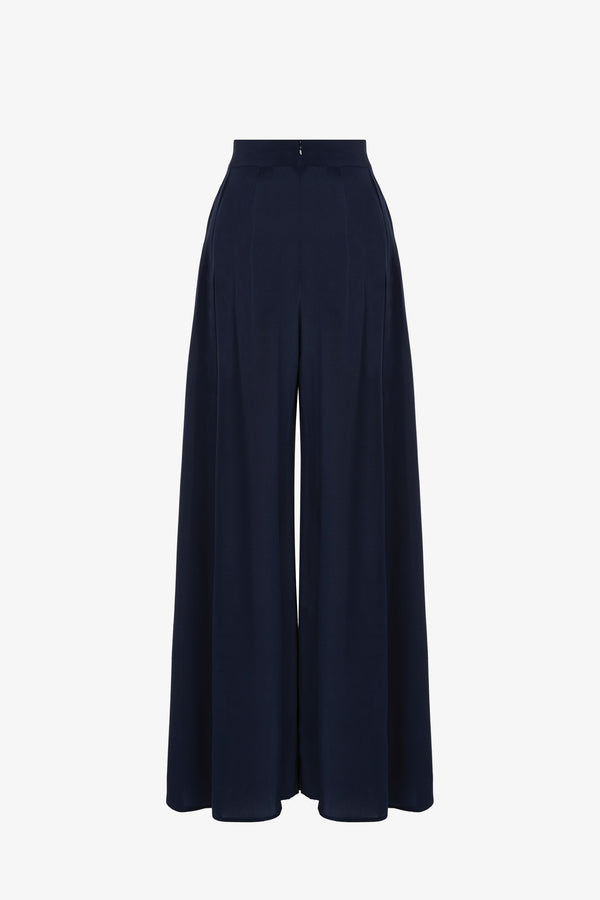 Filippa Silk High-Waisted Open Side Seam Trousers in Indigo