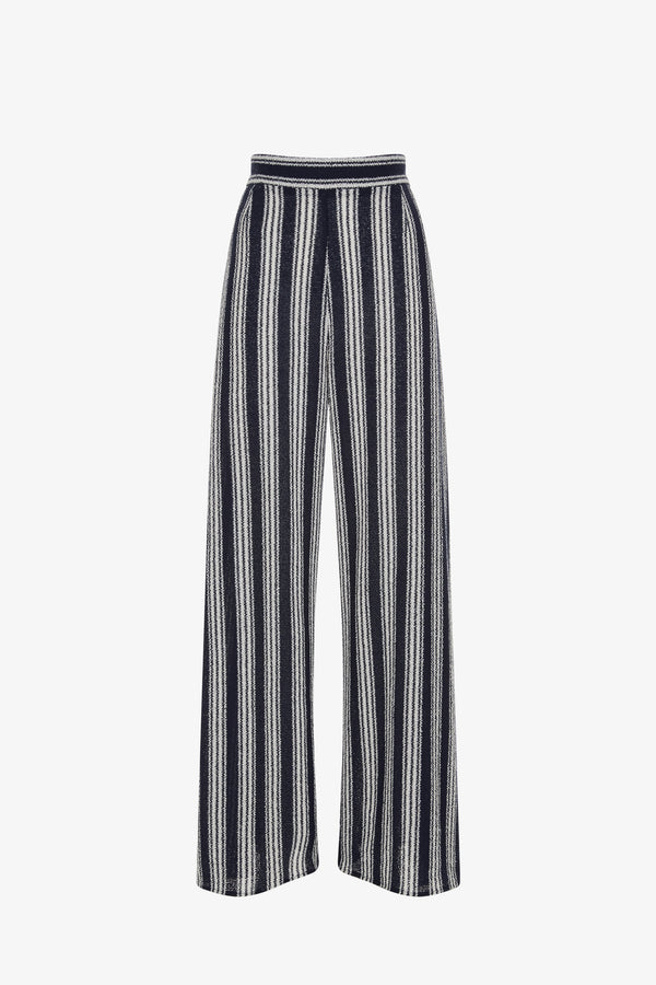 Filippa Dramatic Slit Side Striped Jersey High-Waisted Trousers