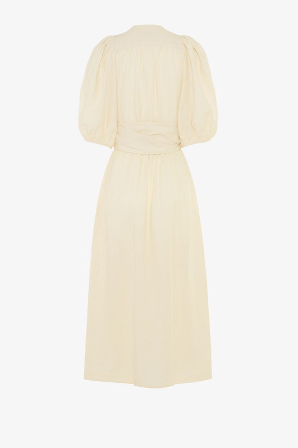 Fiona Linen Midi Dress in Chalk