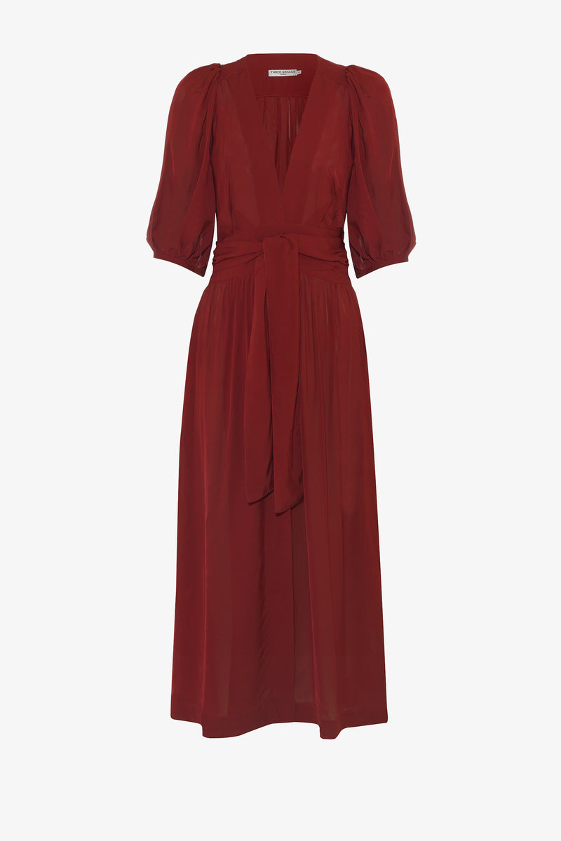 Fiona Sash-Belt Midi Dress in Ruby Red